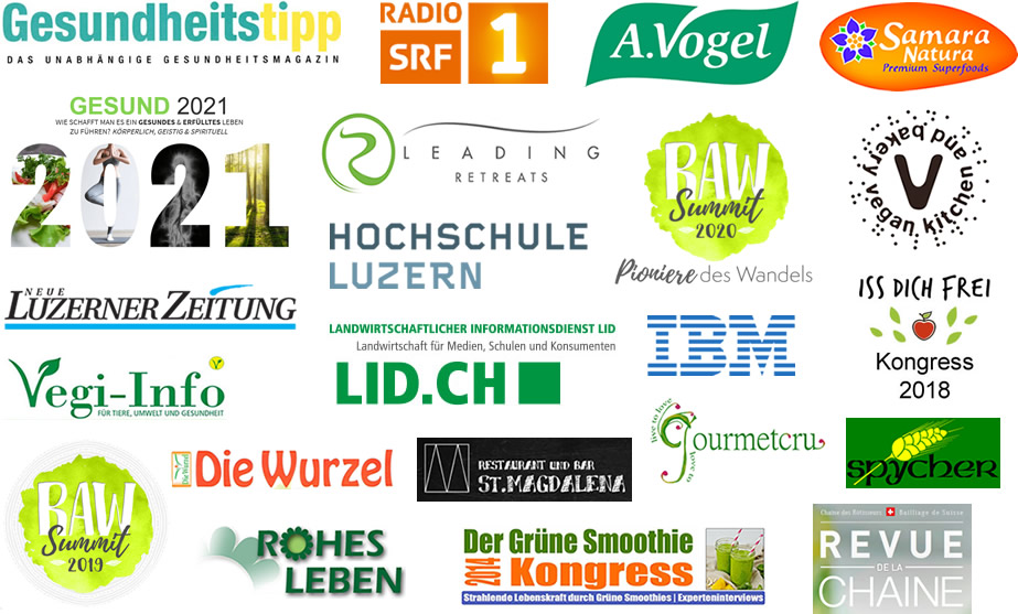 Logos von Publikationen und Firmen der Zusammenarbeit